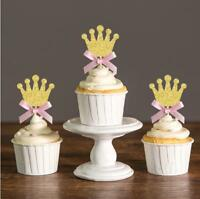Gold Glitter Crown Cupcake Toppers Picks For Baby Shower Princess Birthday Party