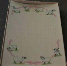 VTG Countryside Stationery Assortment Set Boxed LAMB SHEEP PINK RIBBON SEALED!
