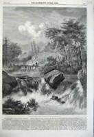 Old Antique Print 1860 Landscape Water River Bridge Falls Mountains Trees 19th