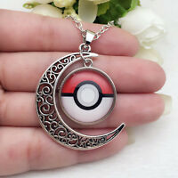 NEW Anime Pokemon Glass Hollow Moon Shape Pendant Silver Tone Necklace #