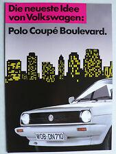 Prospekt Volkswagen VW Polo Sondermodell Coupé Boulevard, ca.1988, 4 Seiten