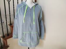 DANSKIN Activewear Grey Drawstring Hoodie Full Zipper Plus Size 3X