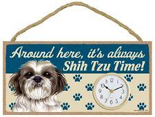 "Around Here, It's Always Shih Tzu (v2) Time Wall or Desk Dog Clock 10""W x 5""H"