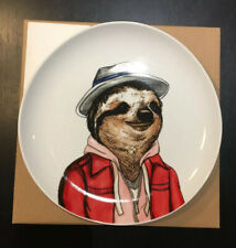 West Elm Rachel Kozlowski Dapper Animal Plate SLOTH New & Boxed Collectible