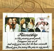"""8x6"""" Personalised Plaque with Photos friendship quote best friends unique gift ."""