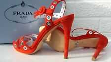 PRADA Sandals 5 38. Red Silver Eyelets Buy New