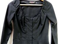 REISS Black Cotton Shirt Size 8 Ruched Neckline Stretch Blouse Top Fitted Smart