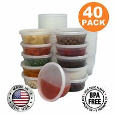 Food Storage Containers with Lids Round Plastic Deli Cups US Made 8 oz Cup Si...