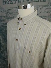 Baxter Natural Clothing Men's LS Linen Blend Shirt - Beige Striped Sz Lg- N879a