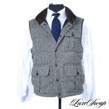 #1 MENS Polo Ralph Lauren Brown Alpaca Mix Herringbone Tweed Down Fill Vest M NR