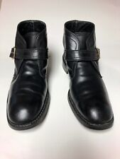 Mens Florsheim Imperial Black Leather Ankle Boots Monk Strap 9.5