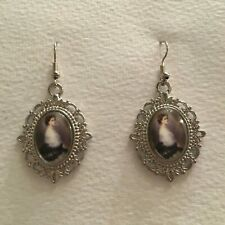 LADY BLACK LACE BUSTLE DARK SILVER PLATED GLASS CAMEO PORTRAIT EARRINGS WHITE