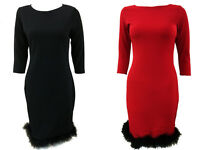 Womens Ladies Celebs 3/4 Sleeve Faux Fur Trim Shift Bodycon Party Dress 8-14