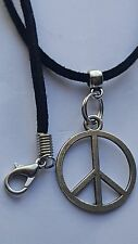 "SIGN OF PEACE TIBETAN SILVER CHARM ON BLACK 3MM VELVET CORD  18""NECKLACE."