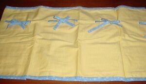 2 PIECE SET ~ Cribskirt & Valance (dust ruffle) blue yellow stripe Carter's NEW