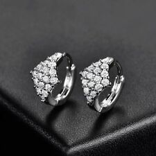 Eye catching 18K White Gold White Crystal Cluster Earrings   407