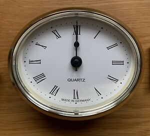 72mm Brass Oval Clock White With Roman Numerals Caravan Motorhome Boat