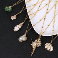 Fashion Women Jewelry Shell Cowrie Beach Sea Pendant Choker Gold Chain Necklace