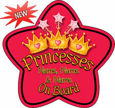 Personalised 3 Princesses Star Shaped Baby On Board Car Sign ~ New! Red