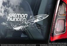 CACCIATORE di Salmone-Finestra Auto Adesivo-N. carpa/luccio/PESCA A MOSCA pesci pescatore