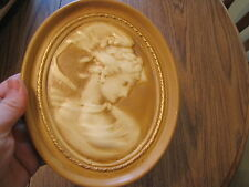 Beautiful Vintage Cameo Chalkware Victorian Lady Woman Wall Plaque Hanging
