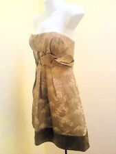 BCBG Max Azria 2 Dress Taupe Strapless Woven Floral Empire Waist Pleated Party