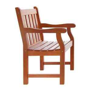 Outdoor Patio Dining Chair 200 lb. Capacity Weather Resistant Eucalyptus Wood