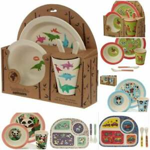 Vehicles and  Princess Children's Bamboo Eco-Friendly Dinner Meal Set Plate Fork