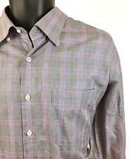 Peter Millar Mens Size Large Purple Glen Plaid Button Down 100% Cotton Shirt