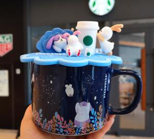 Starbucks Coffee Mugs 2021 Reusable Blue Jade Rabbit Cup W/Bunny Lid Halloween
