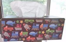 "Vintage Tissue Box Trucks Trains Rocket Ships Brown Wood 10.5 x 5 x 4"""