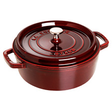 Staub 4-qt Cast Iron Shallow Wide Round Cocotte in Grenade Red
