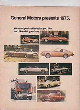 1975 GENERAL MOTORS Canadian Range 16p Brochure CHEVROLET BUICK CADILLAC PONTIAC