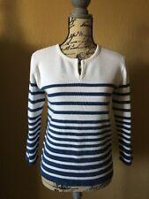 Vintage Gloria Vanderbilt Sz S Blue and White Stripe V Neck Sweater 3/4 Sleeve