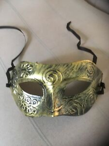 Gold Mask . Mascarade Or Ball Tie On Mask . Fancy Dress Mask For Men