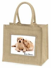 Yellow Labrador Dog 'Yours Forever' Large Natural Jute Shopping Bag C, AD-L61BLN