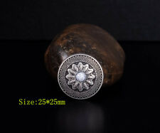 "10PC 1"" RETRO SLIVER FLORAL WESTERN LEATHERCRAFT SADDLES CONCHOS STUD SCREWBACK"