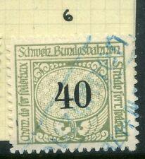 SWITZERLAND;  1913-30s early RAILWAY PARCEL stamp fine used  40c. Type 6