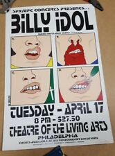 Billy Idol tour Original Concert poster Theatre Living arts Philadelphia Altieri