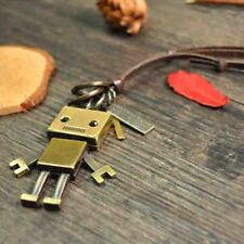 Easter Useful Chic Vintage bronze square robot leather rope necklace pendant