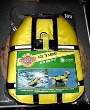 "NEW* AKC Dog Life Jacket; Yellow Aqua Vest Agility Series MD 12-14"" 12-17 lbs"
