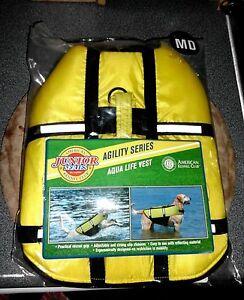 "NEW* AKC Dog Life Jacket; Yellow Aqua Vest Agility Series MD 12-14"" 12-17 lbs"