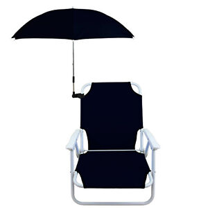 Beach Chair with Umbrella Kit Foldable Camping Folding Outdoor Camp Pool Stool