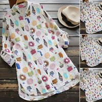 ZANZEA 8-24 Women Printed Long Sleeve Button Down Shirt Top Tee Tunic Blouse