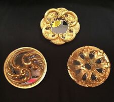 Set of 3 small mirrors in gold painted gothic/renaissance styles. Each different