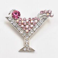 Pink & Silver Rhinestone Martini Pin / Brooch