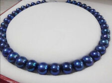 10-11mm Genuine TAHITIAN BLUE pearl necklace 18'' 14K yellow gold clasp
