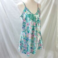 Victorias Secret Silky Chemise Sz Large Floral Short Nighty Nightgown Gold Label