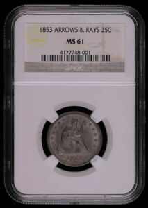 1853 ARROWS & RAYS SEATED LIBERTY SILVER QUARTER DOLLAR **RAINBOW REVERSE** C...