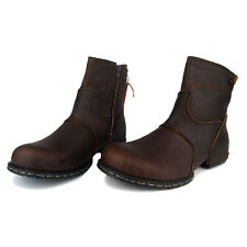 OTTO ZONE Real Handmade Genuine Cow Leather Fashion Ankle Boots- Brown- All Size